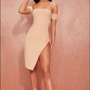 nude cuff detail split sice mini dress